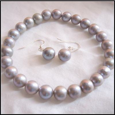 7-8mm Grey Color Fresh Water Pearl Bracelet And Earrings