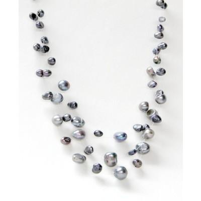3 String Irregular Shape Dark Blue Fresh Water Pearl Necklace