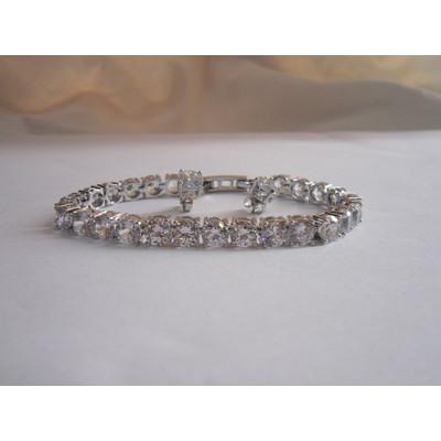 18K White Gold Swarovski Crystal Tennis Bracelet