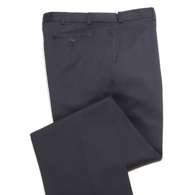 Comfort Wool Blend, Expandable Waist Pants - Flat Front - Navy