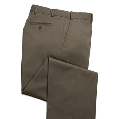 Comfort Wool Blend, Expandable Waist Pants - Flat Front - Olive Khaki