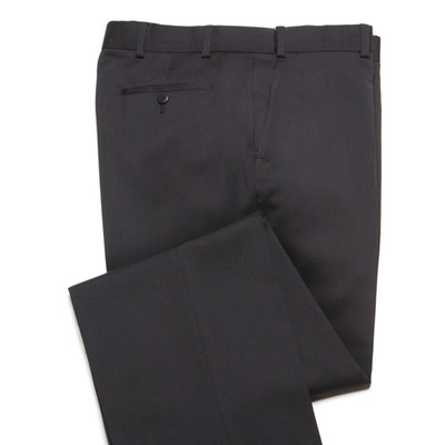 Comfort Stretch Wool, Expandable Waist Men's Dress Pant - Flat Front - Black