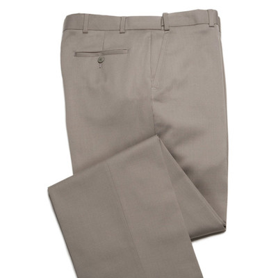 Comfort Stretch Wool, Expandable Waist Men's Dress Pant - Flat Front - Khaki