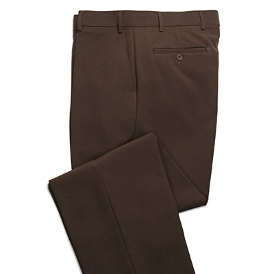 Haband Wrinkle Resistant Men's Dress Pant - Flat Front - Brown