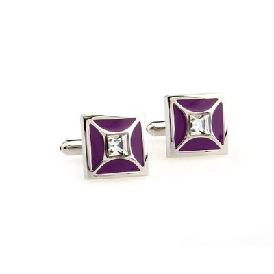 Crystal Cufflinks with Purple Color +Oil Free 5-In-1 Cleansing Cloths