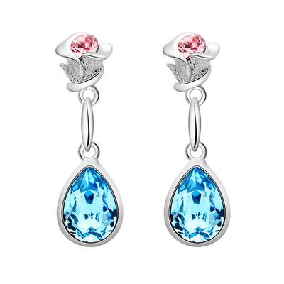 Lumax Swarovski Rose - Pear Shape Drop Earrings.