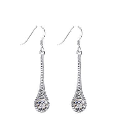 Lumax Swarovski Embellished Silver Plated Earings.