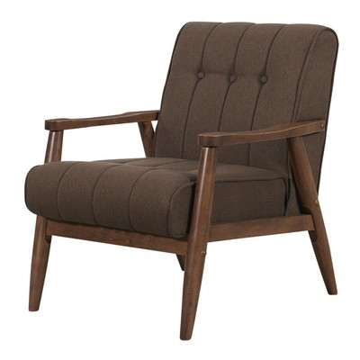 SOLID WOOD WALNUT ARMCHAIR IN BROWN TEXTURED FABRIC