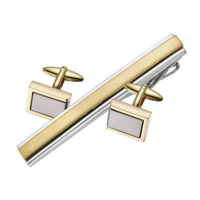 ENRAVABLE TWO TONE CUFFLINKS/ TIE BAR SET
