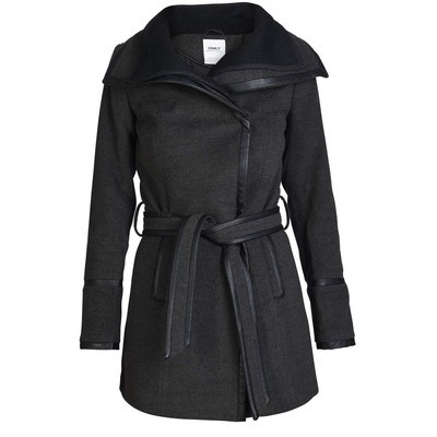ONLY       HELEN WOOL CONTRAST COAT WITH PU