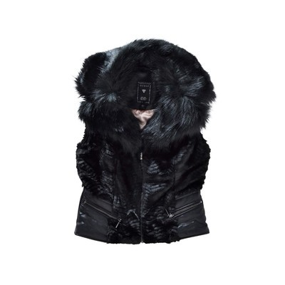 Guess FUR VEST WITH PU WAISTBAND