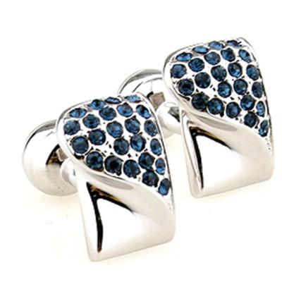 Copper Alloy Blue Crystal Cufflinks