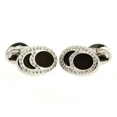 Black Crystal Oval Cufflinks