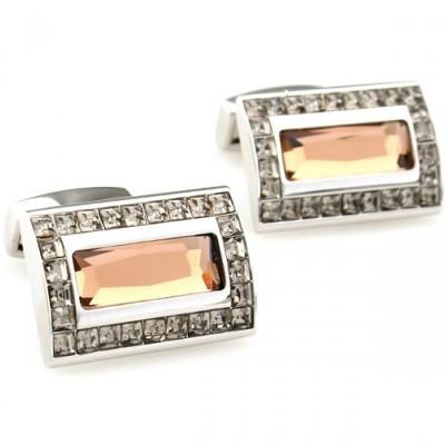 Romance Light Pink Crystal Mosaic Rectangle Cufflinks