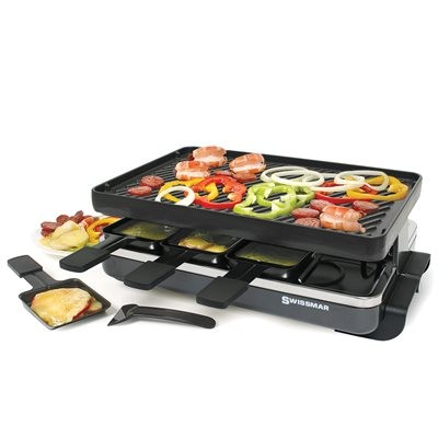 Swissmar 8-Person Classic Raclette with Reversible Cast Iron Grill - Black