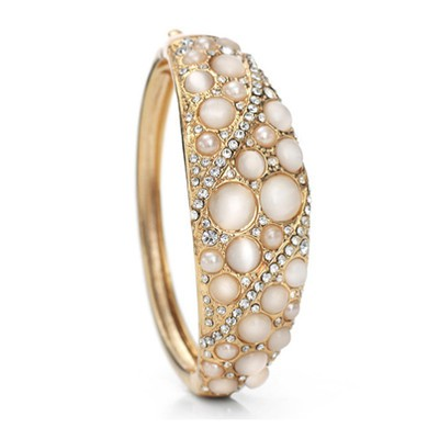14K Gold Plated Opal And Simulated Pearl Cuff Bracelet