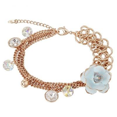14K Gold Plated Multi-Chain Flower Charm Bracelet