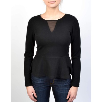 Noir by YDE PEPLUM TOP WITH MESH
