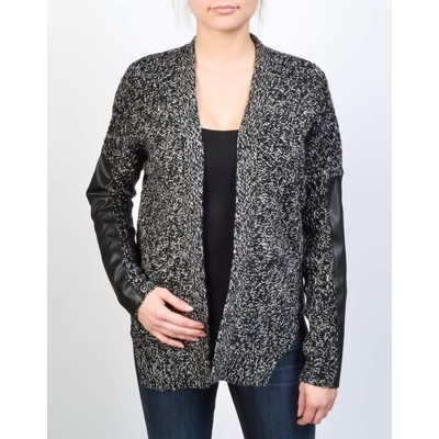 RD - Razzle Dazzle WRAP CARDIGAN WITH PU SLEEVE