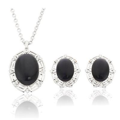 Rhodium Plated Black Opal Jewellery Set