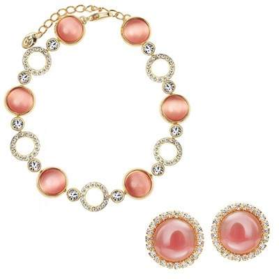 14K Gold Plated Pink Rose Opal Jewellery Set