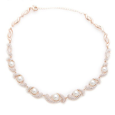 14K Rose Gold Plated Twist Simulated Pearl Necklace