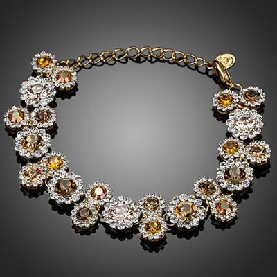 Platinum Plated 23 Pieces Champagne Flower Bracelet