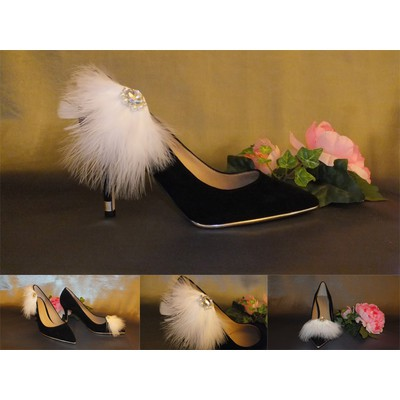 White Soft Feather and Imitation Pearl Shoe Clips-Item # 3003