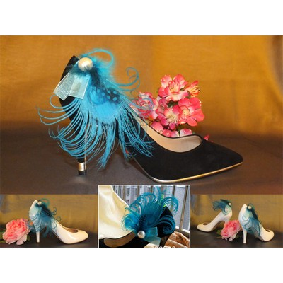 Blue Turquoise Peacock Feather Shoe Clips - Item # 3004