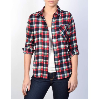 BLVD       PLAID SHIRT WITH ROLL UP SLEEVE