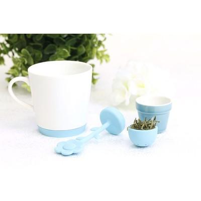 Mug and Tea Infuser Set of Four Green Blue Orange Red