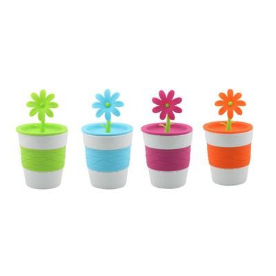 Daisy Mug Set of Four Green Blue Orange Red