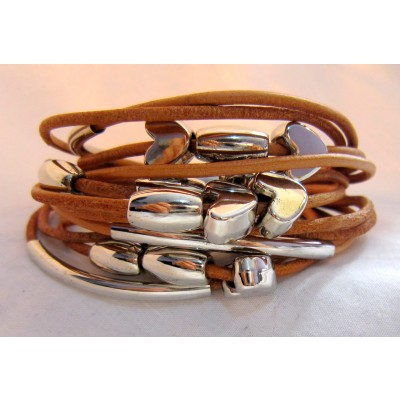 Multi String Leather bracelet With Heart Shape Charm (Light Brown Color)
