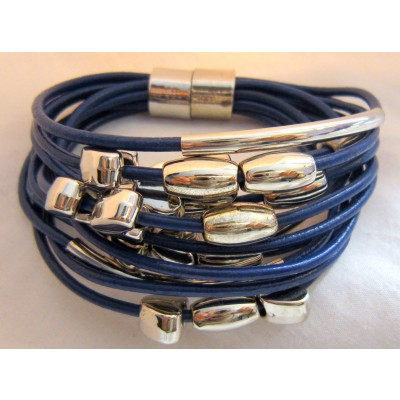 Multi String Leather bracelet With Heart Shape Charm (Navy Blue Color)