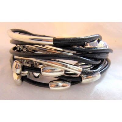 Multi String Leather bracelet With Heart Shape Charm (Black Color)