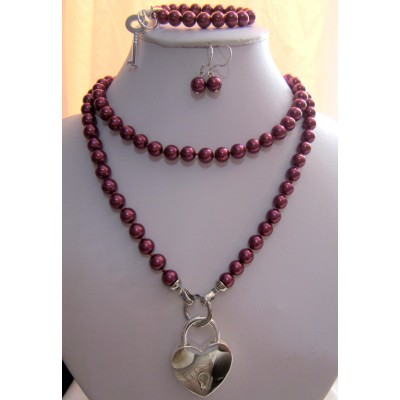 8MM Dark Pink Pearls Long Necklace With Silver Heart Shape Lock/ Bracelet With a Key/Earrings