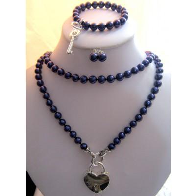 8MM Navy Blue Pearls Long Necklace With Silver Heart Shape Lock/ Bracelet With a Key/Earrings