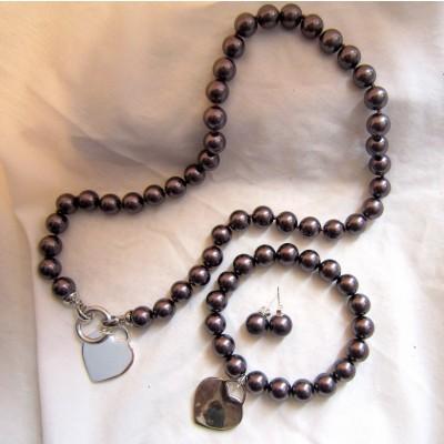 10MM Brown Pearls Necklace/Bracelet/Earrings