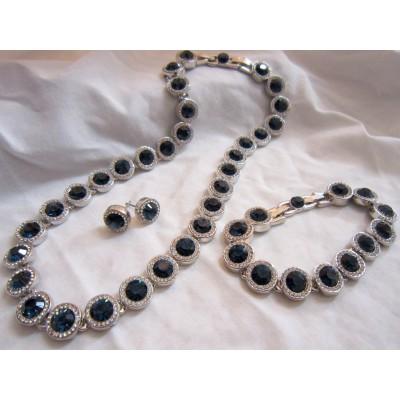 Dark Blue Color Swarovski Necklace, Bracelet And Earrings