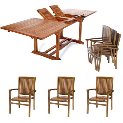 7pc. Teak Rectangle Table and Stacking Chairs Set