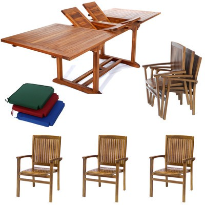 Teak Rectangle Stacking Set w/ Blue Cushion