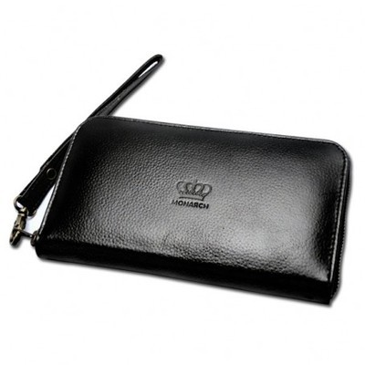 Accordion Ebony Grain Leather Wallet With Hand Strap