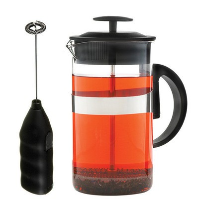 Cafe Au Lait French Press 1000 ml and Milk Frother Coffee and Tea Lover's Set BLACK