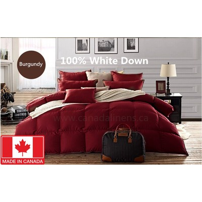 100% WHITE DOWN DUVET MADE IN CANADA Burgundy Color King size