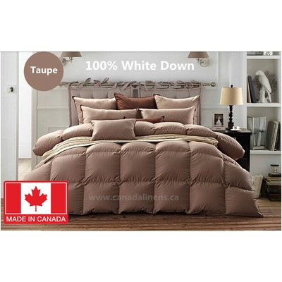 100% WHITE DOWN DUVET MADE IN CANADA Taupe Color King size