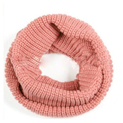 Infinity 2 Circle Cable Knit Cowl Neck Long Scarf Shawl - Pink Color