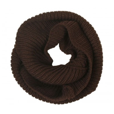 Infinity 2 Circle Cable Knit Cowl Neck Long Scarf Shawl - Brown Color