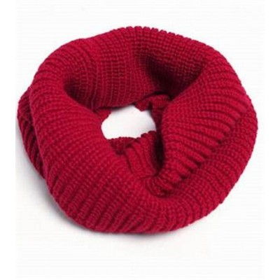 Infinity 2 Circle Cable Knit Cowl Neck Long Scarf Shawl - Red Color
