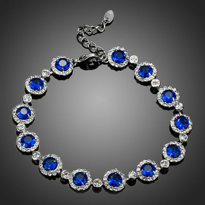 18K Gold Plated Royal Blue Swiss Cubic Zirconia Bracelet