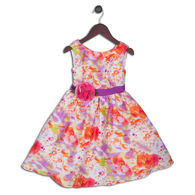 Kelly Floral Satin Print Dress with Flower